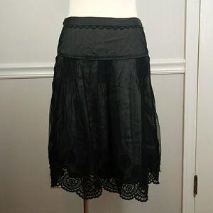 Litho Black sheer overlay crochet trim skirt